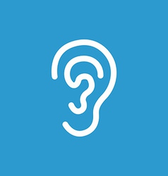 Ear icon white on the blue background vector