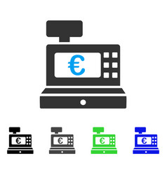 Euro cashbox flat icon vector