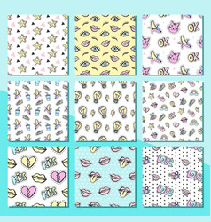 fashionable patches seamless patterns set vector image vector image