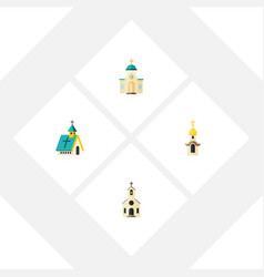 Flat icon church set of building religious vector