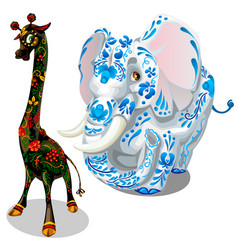 Giraffe and elephants painted figurines vector