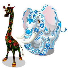 Giraffe and elephants painted figurines vector