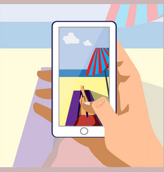 in my phone vatical on vacation vector image vector image