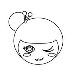 Kokeshi face doll outline vector