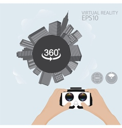 Man hand hold virtual reality glasses vector