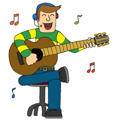 Man singing with guitar vector