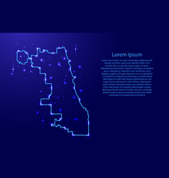 Map chicago city from the contours network blue vector