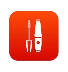 Mascara mascara brush icon digital red vector