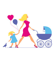 Mom with daughter and baby in baby carriage vector