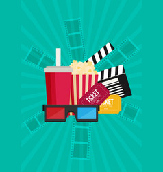 Movie poster template popcorn soda takeaway 3d vector