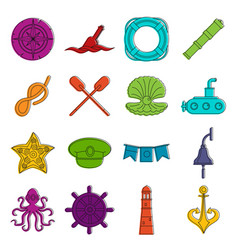 nautical icons doodle set vector image