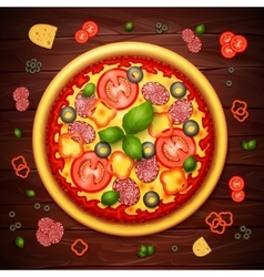 Realistic pizza recipe or menu background vector