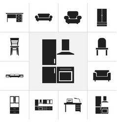 set of 12 editable interior icons includes vector image vector image