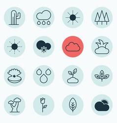Set of 16 landscape icons includes oak water vector