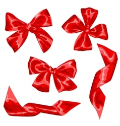 Set of red satin gift bows and ribbons vector