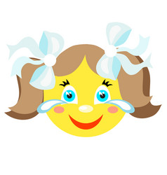 smiley girl laughs and cries vector image vector image