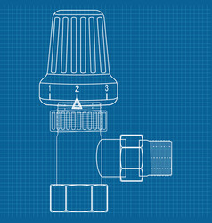 Thermostat water valve icon blueprint vector