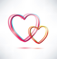 two hearts icon vector image vector image