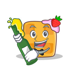 Waffle character cartoon design with beer vector