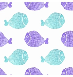 Watercolor seamless pattern with fish on the white vector image vector image