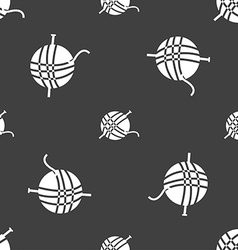 Yarn ball icon sign seamless pattern on a gray vector