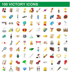 100 victory icons set cartoon style vector