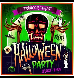 Halloween party design template with skull zombie vector