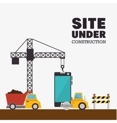 Site under construction mobile and truck machinery vector