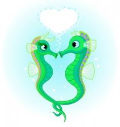 seahorses in love vector image