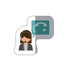 Isolated woman operator design vector
