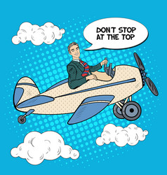 pop art business man riding airplane vector image