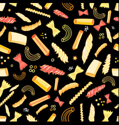Seamless pattern with different tasty pasta vector