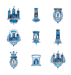 Ancient fortresses emblems set heraldic coat of vector