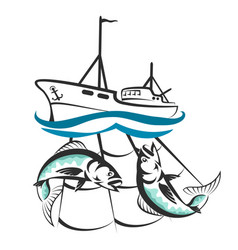 A fishing boat with a catch silhouette vector
