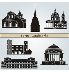 Turin landmarks and monuments vector
