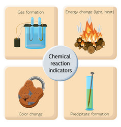 Chemical reaction indicators infographics vector
