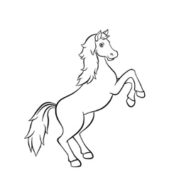 Horse standing on the road in field vector