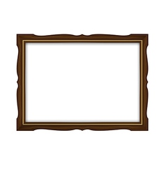 Wooden and gold frame for paintings isolated vector