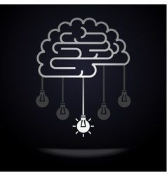 Brain with light bulbs vector