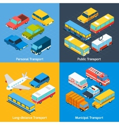 Transport isometric set vector