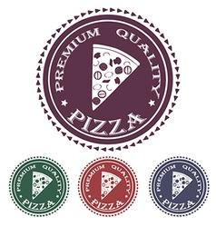Premium pizza quality label stamp design element vector