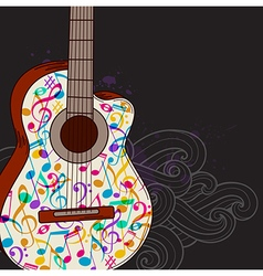 Black music background with guitar vector image