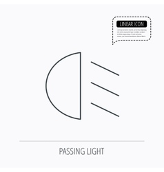 Passing light icon dipped beam sign vector