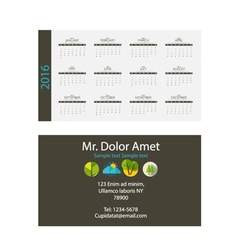 2016 calendar modern business card template with vector