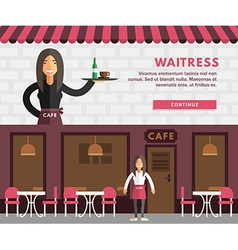 Profession Concept Waitress Flat Design Concepts vector image
