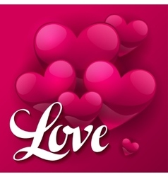 Valentine day background with word love and hearts vector