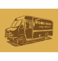 Painted food truck on a golden background vector image
