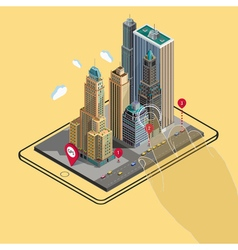 Flat 3d isometric map on tablet gps navigation app vector