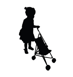 Child with trolley silhouette vector