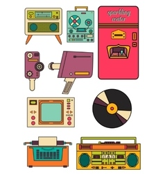 Set of color vintage flat electronic icons 80-90s vector